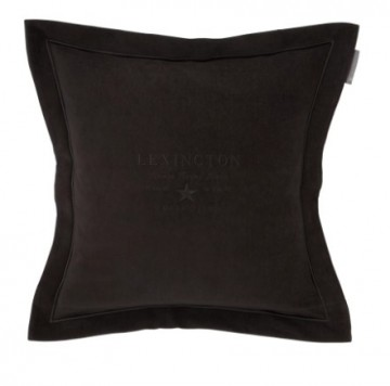 LEXINGTON - Hotel Velvet Sham with Embroidery, Dark Gray