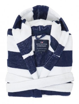 LEXINGTON - Hood Terry Robe - Blue & White