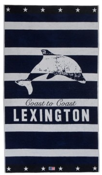 LEXINGTON - Graphic Velour Beach Towel, Blue/White 100x180