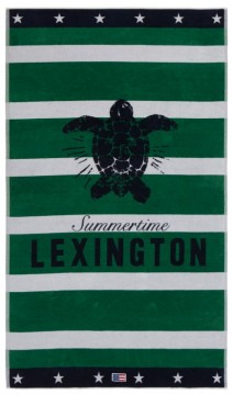LEXINGTON - Graphic Velour Beach Towel, Green/White 100x180