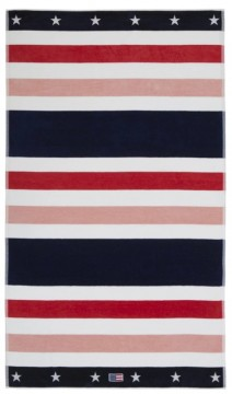 LEXINGTON -  Multi Striped Velour Beach Towel 100x180, Red